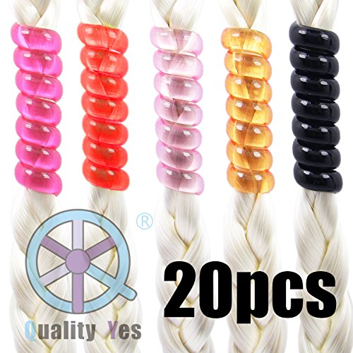 Bead Coil (QY 20PCS Bright Colors Beads Barrettes Spiral Coil Hairholders for Ladies)
