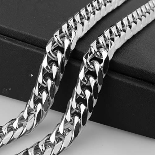 ruilinyang 16//19//21mm Stainless Steel Heavy Mens Silver Curb Cuban Chain Necklace 16-40 Multi-Color,38inch by 16mm