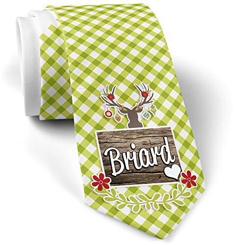 - Green Plaid Christmas Neck Tie Briard, Dog Breed France gift for men