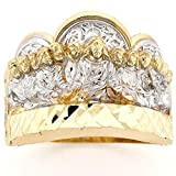 10k Two Tone Gold Last Supper Jesus Religious Mens Ring