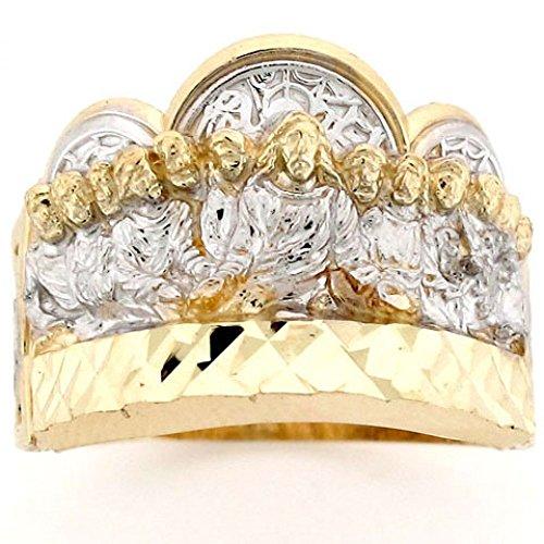 10k Two Tone Gold Last Supper Jesus Religious Mens Ring (10k Religious Ring)