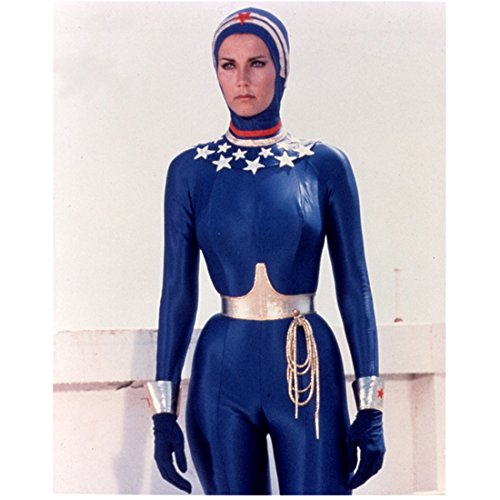 Lynda Carter 8 Inch x 10 Inch PHOTOGRAPH Wonder Woman (TV Series 1975 - 1979) Wearing Blue Wet Suit Pose 2 kn]()