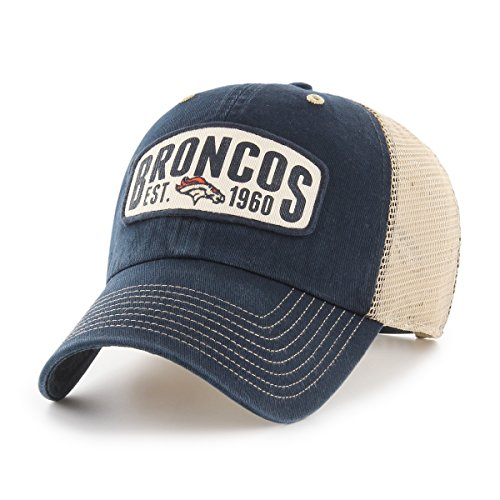 NFL Denver Broncos Woodford OTS Challenger Adjustable Hat, Navy, One Size