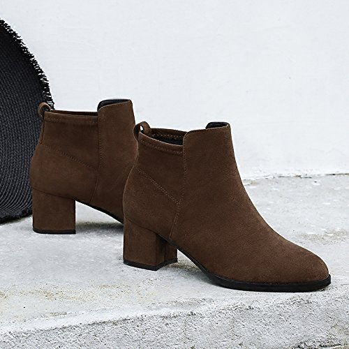 The Elastic Boots With Nude Sleeve Boots Boots New With Brown Boots Winter Thick KHSKX Female Korean Round Cloth Chelsea RWYpd1qw6