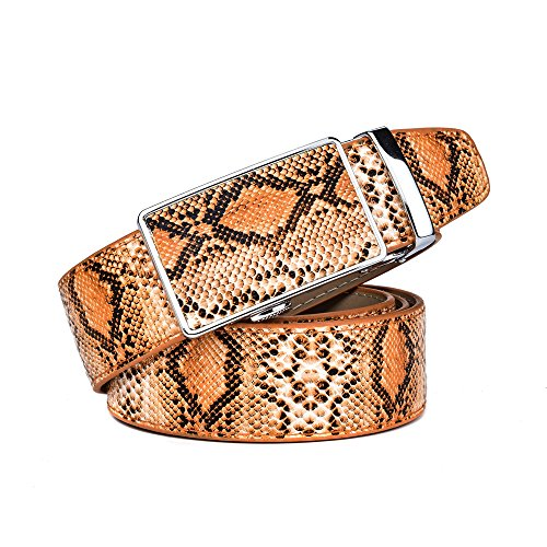 Brown Snake Genuine Belt (RADYMAN Special Snake Pattern Luxury Belts Genuine Leather Belts Men Automatic (Waist 25-36