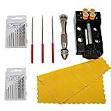 Yasumai Mini Clamp Table Bench Vice + Precision Pin Vise Model Hand Crank Drill Press with 20 Pcs Twist Drill Bit Drilling Holes Center Punch Rotary Tools for Jewelry Nuclear Clip On DIY Carving Tool Bed Nuclear Carving Clamp Needle File