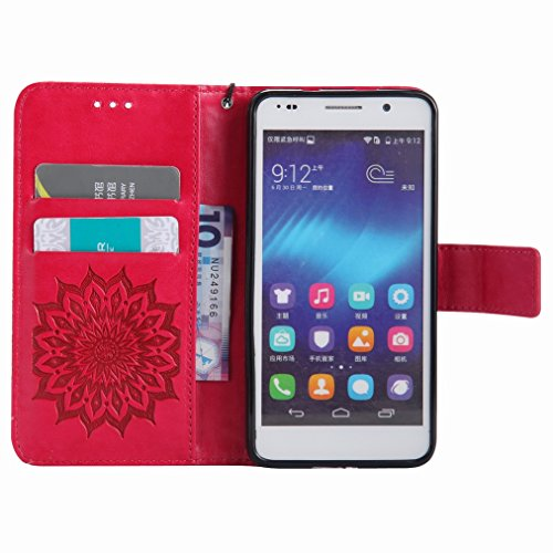 Yiizy Huawei Honor 6 Funda, Pétalos Sol Diseño Solapa Flip Billetera Carcasa Tapa Estuches Premium PU Cuero Cover Cáscara Bumper Protector Slim Piel Shell Case Stand Ranura para Tarjetas Estilo (Rojo)