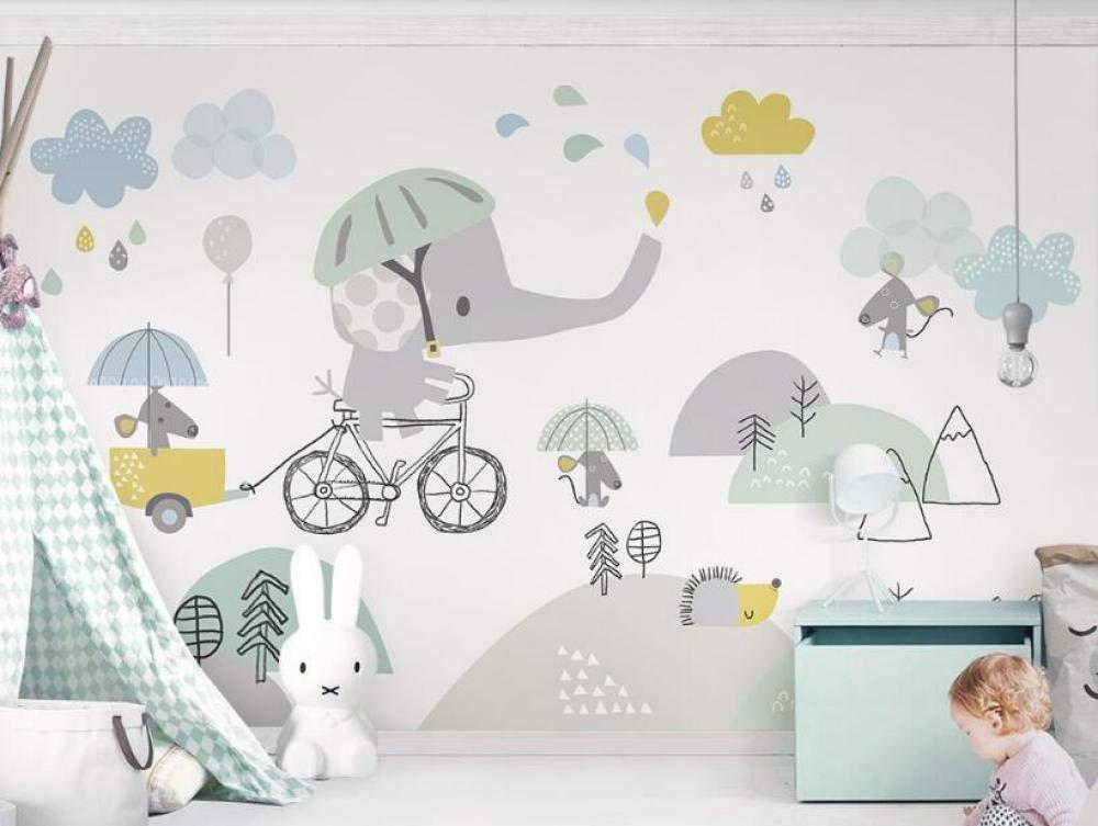 Foto Mural p/óster deco 350cm x 256cm Papel Pintado No tejida Fotomurales Sala Living Oficina Dormitorio /Habitaci/ón infantil elefante y lindo hamster nube blanca