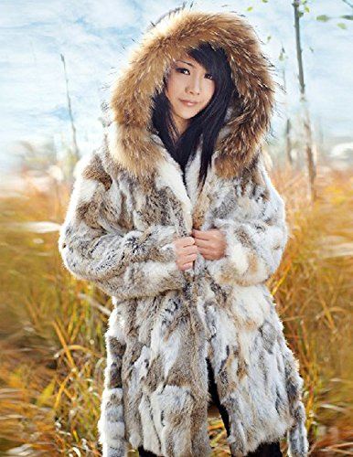 Kranda Women's Warm Hooded Real Rabbit Fur Jackets Coat with Trim ...