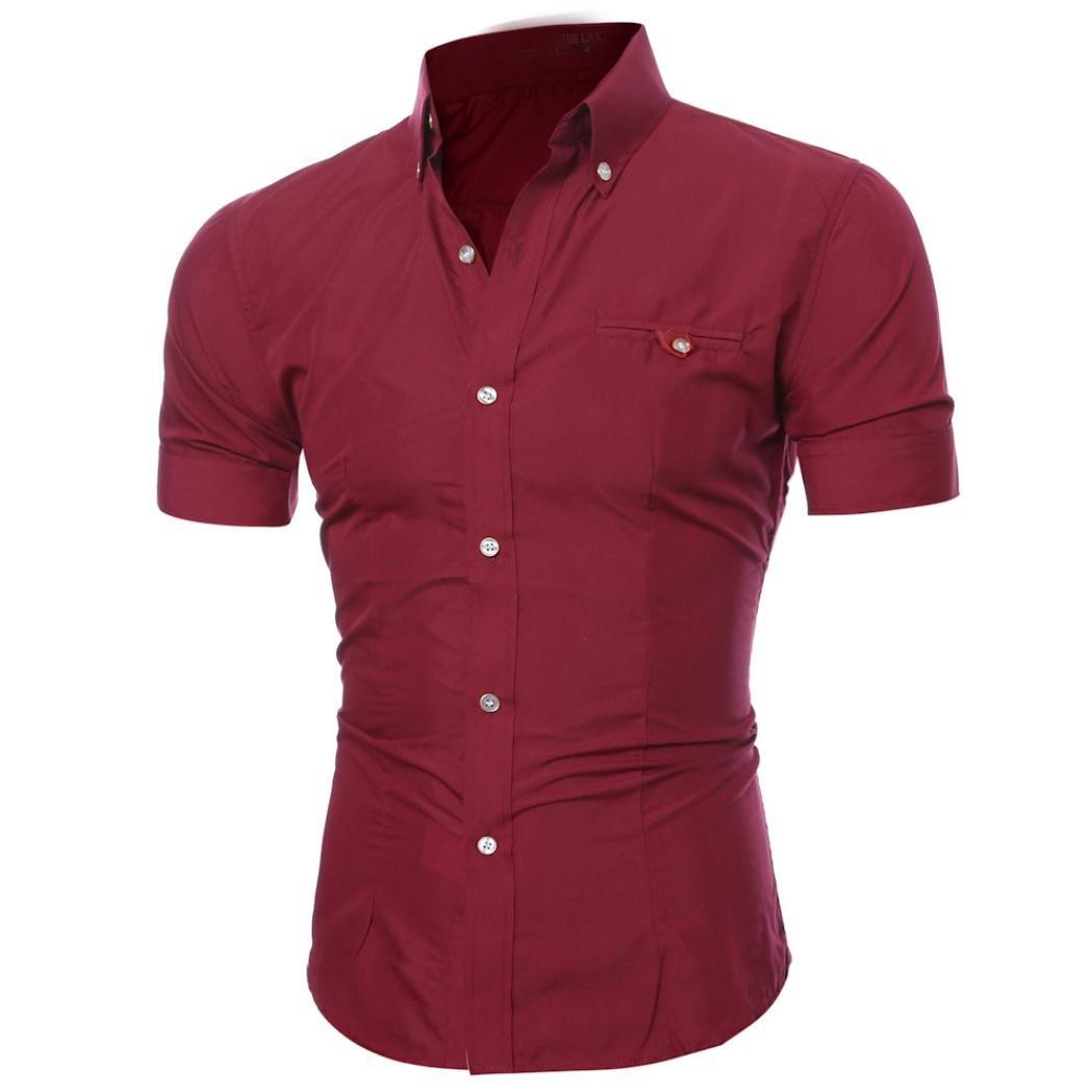 Realdo Mens Shirt, Summer Casual Solid Short Sleeve Button Down T-Shirt Top Blouse