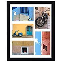 WOOD MEETS COLOR 11x14 Collage Picture Frame with White Mat - Displays Five 4x6 Photos,Wall Gallery Frames with Hanging Template, Real Glass Window and Photo Mats(Black)