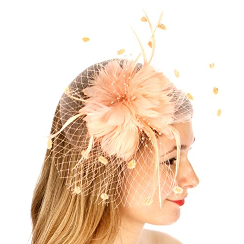 fashion2100 Feather Flower Corsage Fascinator Peach (Petals Posh)