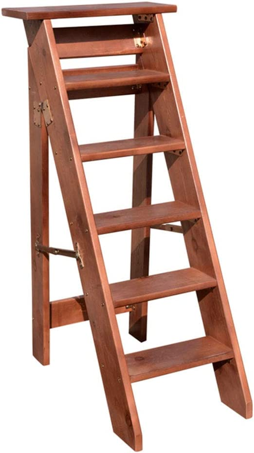 6 Pasos Taburete de Escalera Plegable para Adultos niños Taburete Interior de Madera marrón Silla de Escalera para Cocina, baño de la Biblioteca, Capacidad de 300 LB: Amazon.es: Hogar