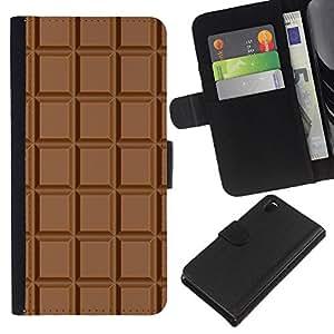 KLONGSHOP // Tirón de la caja Cartera de cuero con ranuras para tarjetas - Chocolate patrón a cuadros Wallpaper Arte - Sony Xperia Z3 D6603 //