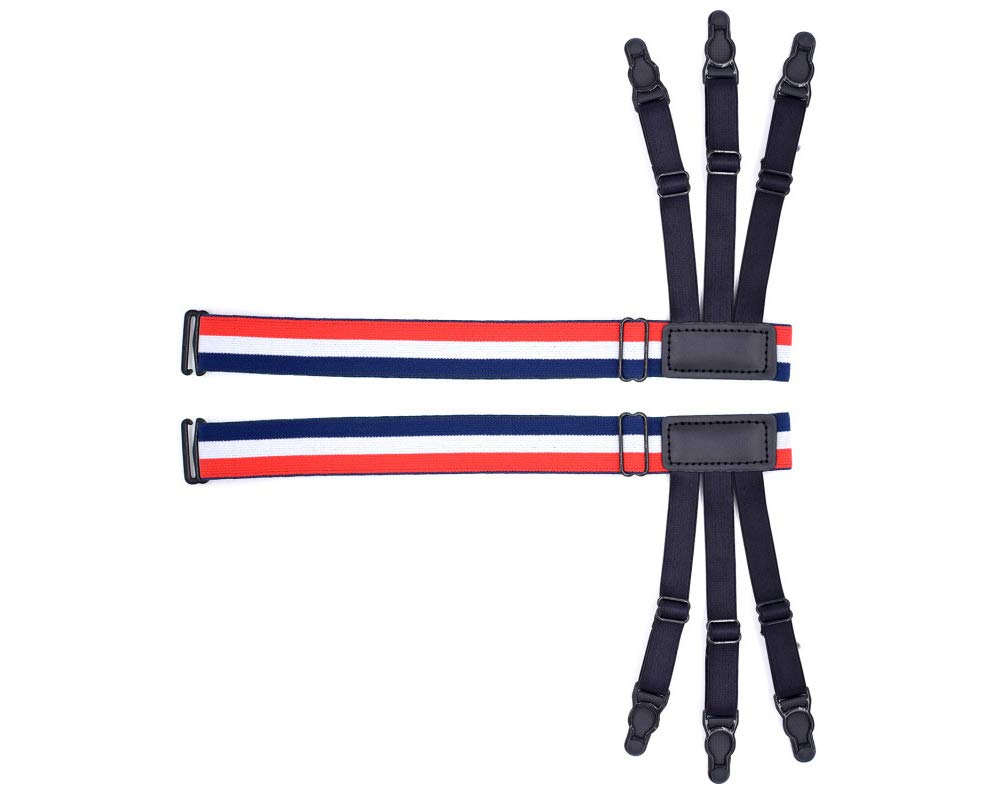 2 Pair YXMxxm Shirt Stay Garter for Mens Adjustable Elastic Suspenders and Locking Clamps for Men//Police or Military