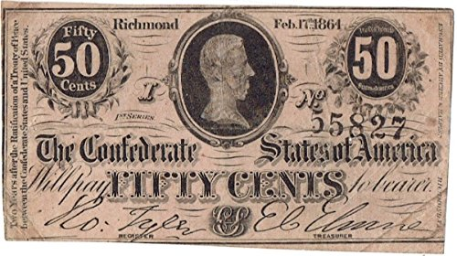 1864 Fifty Cent Confederate Currency
