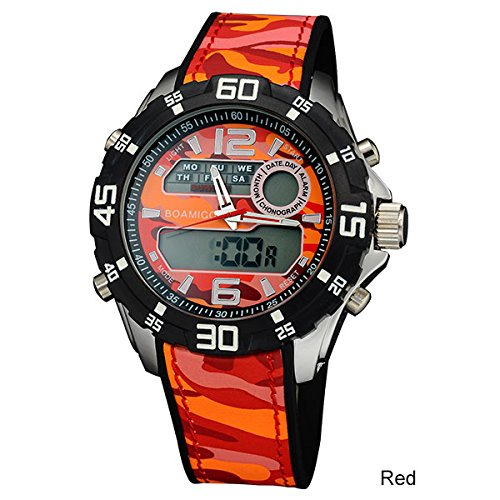 Men Military Sports Watches Dual Display Quartz Digital LED (RED)