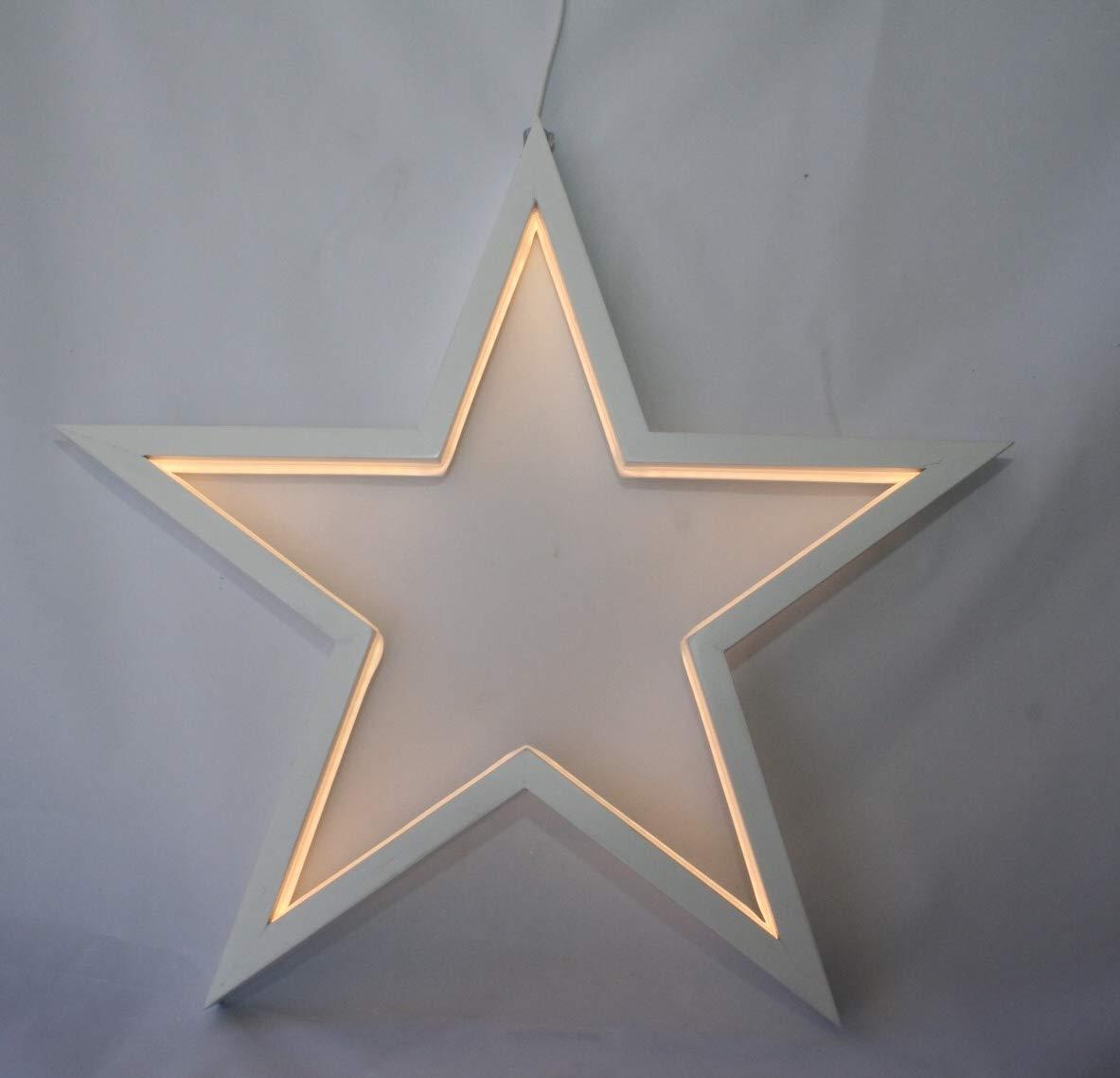 Formano Hänger Stern aus Holz mit LED-Licht, 32cm Leuchtend, mit Kabel für die Steckdose, 540966