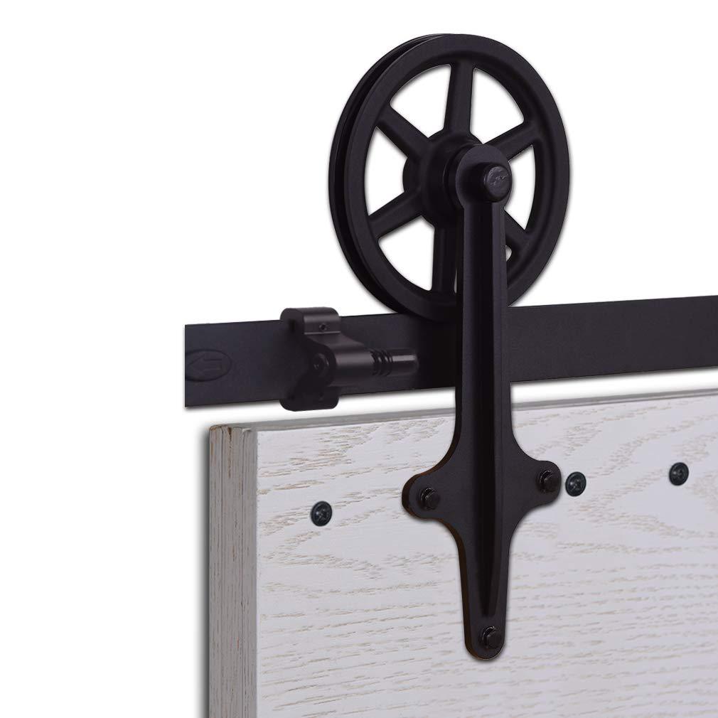 CCJH Kit Rail Coulissant Armoire Placard Rail Porte Coulissante 427cm//14ft Noir Convient /à 2 Portes Large de 107 cm Vintage Shape Big Wheel Hanger