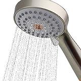 YOO.MEE - Alcachofa de ducha de mano de alta presión con potente spray de ducha contra tubería de agua de baja presión, multifunciones, accesorios de baño con manguera, soporte y cinta de teflón, chapado en cromo, Moderno, Níquel cepillado