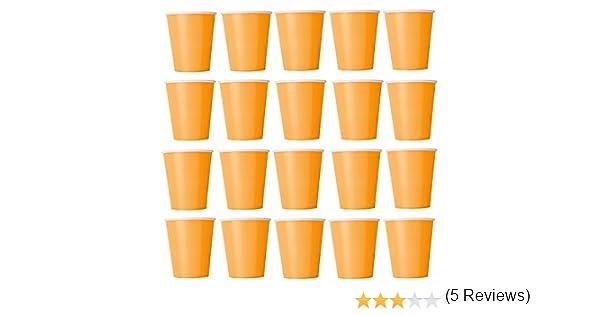 50 x Vasos naranja vasos desechables para bebidas frías y bebidas calientes de cartón respetuoso con el medio ambiente, bodas, cumpleaños, Taza de café, picnic, Jardín, partido, barbacoas: Amazon.es: Hogar