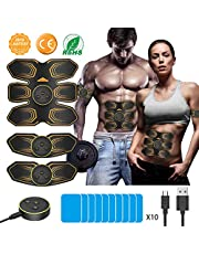 ANLAN EMS Muscle Stimulator, Abs Trainer Abdominal Muscle Toner Electronic Toning Belts Workout Home Fitness Equipment with USB Rechargeable 10 Replacement Gel Pads for Abdomen Arm Leg AB Machine