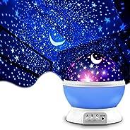 Night Lighting Lamp [ 4 LED Beads, 3 Model Light, 4.9 FT(1.5 M) USB Cord ] Romantic Rotating Cosmos Star Sky M
