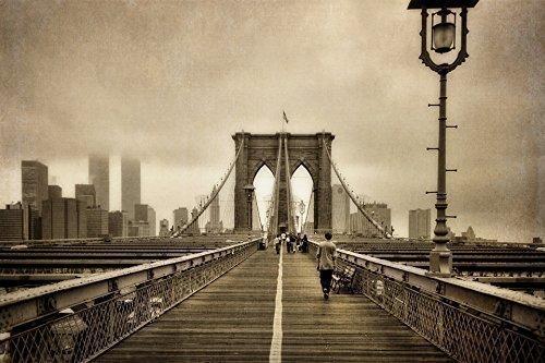 3c531f0a97b Amazon.com  Old New York City Wall Art Vintage Brooklyn Bridge ...