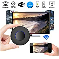 [2017 UPGRADE]WIFI Display Dongle,Unee1 WiFi Wireless 1080P Mini Display Receiver with AV Output and Marquee Light HDMI TV Miracast DLNA Airplay for IOS/Android/Windows/Mac