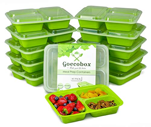 10-Pack Meal Prep Containers with Lids. 35oz with 3 Compartments. More Durable & Flexible. Stackable, BPA Free, Dishwasher Safe & Reusable, Microwavable