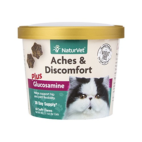 NaturVet Aches & Discomfort Plus Glucosamine for Cats, 60 ct Soft Chews, Made in USA