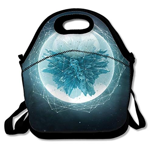 Dreamting 3D Crystals Polygon Star Sky Reusable Insulated Lunch Tote Bag Portable Lunchbox Handbag
