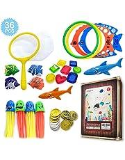 Diving Pool Toys 26packs for Underwater Swimming/Diving, Including Pool Toy Rings(4pcs), Torpedo Bandits(4pcs),Pirate Treasures (8pcs),Diving Dolphins (3pcs),Seaweed (3pcs)