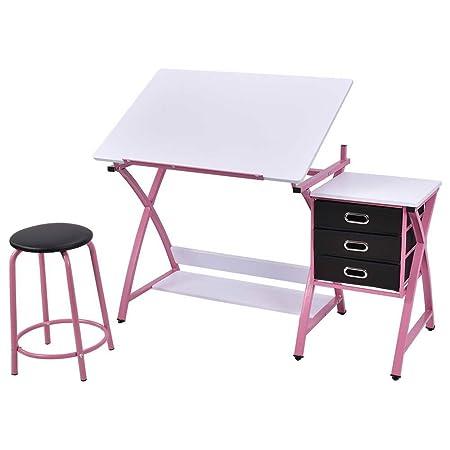 Mesa de dibujo, inclinable y ajustable, con taburete ...