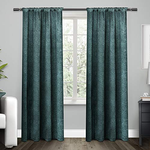 Satin Cotton Exclusive - Exclusive Home Curtains Embossed Satin Rod Pocket Window Curtain Panel Pair, Teal, 54x96