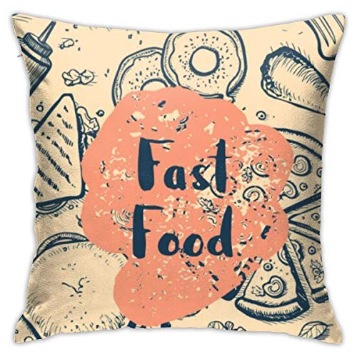 yinchuyindianzi Pillowcase Fast Food Retro Restaurant Menu Bedding Square Standard Pillowcases Cotton Hotel Quality Pillow Cases