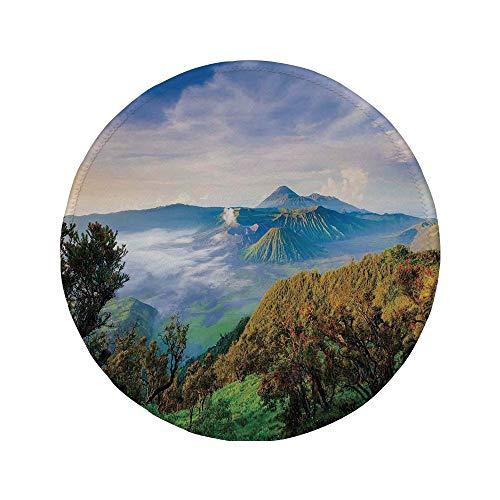 (Non-Slip Rubber Round Mouse Pad,Mystic House Decor,Volcano at Sunrise Active Adventure Destination Morning Mist Scenery Peak Sky,Green Blue,7.87