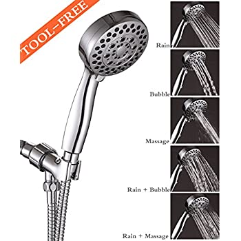 Premium 5-Function Handheld Shower Head with Hose and Bracket, 4 inch Spray Face and Full Chrome Finish