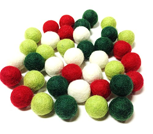 Yarn Place Felt Balls - 40 Pure Wool Beads 20mm / 0.78inches Mixed Colorful Colors (Holiday)