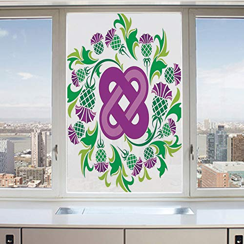 3D Decorative Privacy Window Films,Eternal Life Symbol Celtic Motif Surrounded with Thistle Flower and Leaves Image,No-Glue Self Static Cling Glass Film for Home Bedroom Bathroom Kitchen Office 24x36