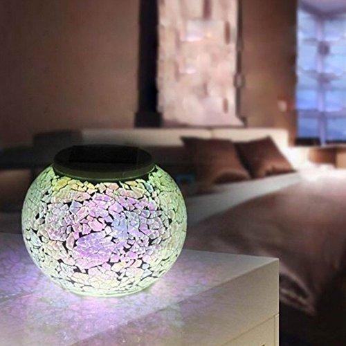 Solar Powered Mosaic Glass Ball Garden Lights, Color Chan...