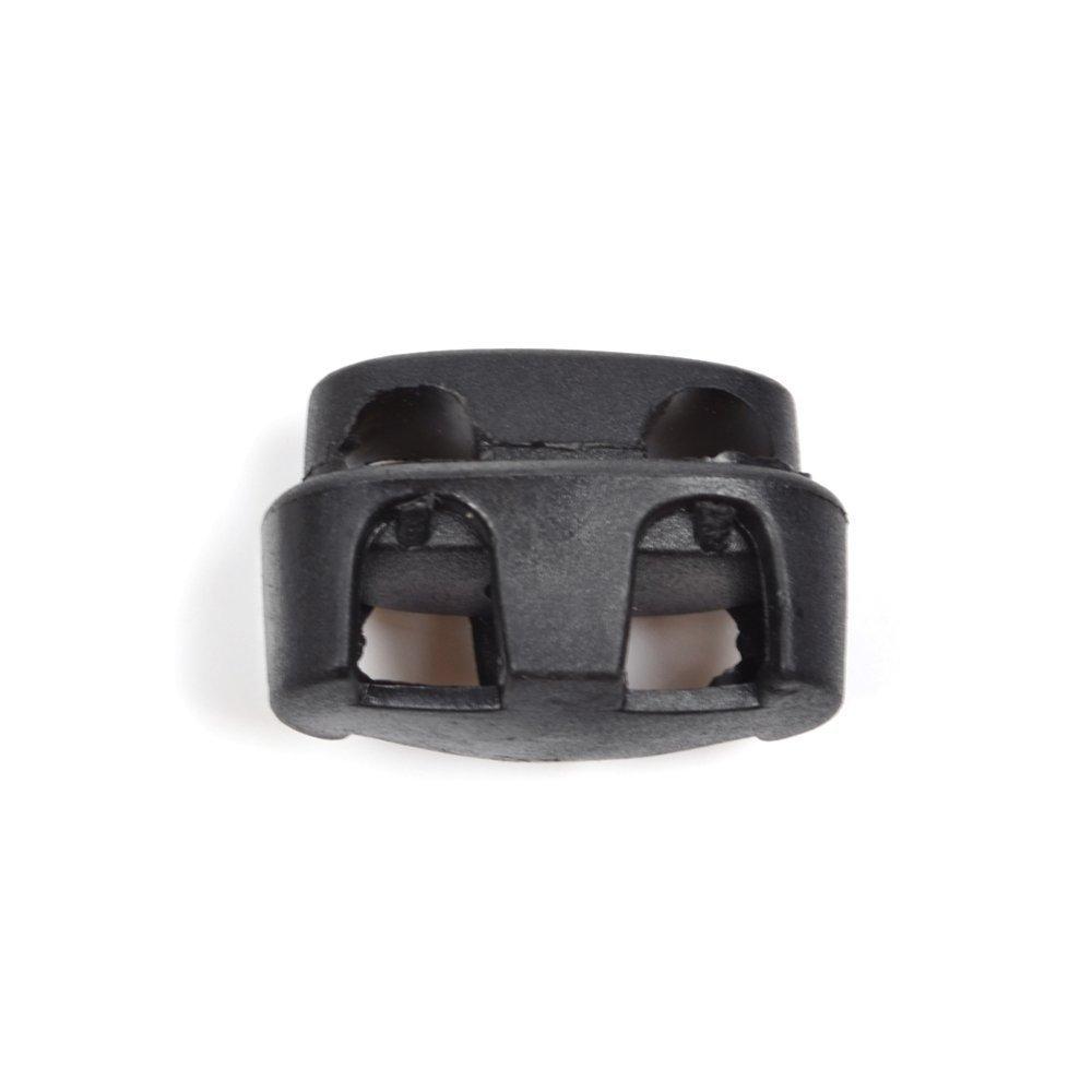 KLOUD City Black Double Holes Plastic Lanyard Cord Locks Stops Sliding Shoelace Lock Replacements (15 Pcs) KCSP-0417