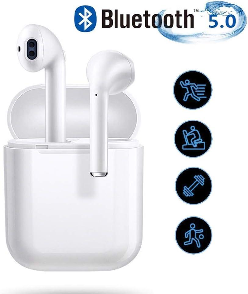Bluetooth 5.0 Auriculares Inalambricos Cascos Deportivos Estéreo con Mic y Cancelación de Ruido Caja de Carga - Auriculares Compatible con airpds Apple iPhone Airpods Samsung