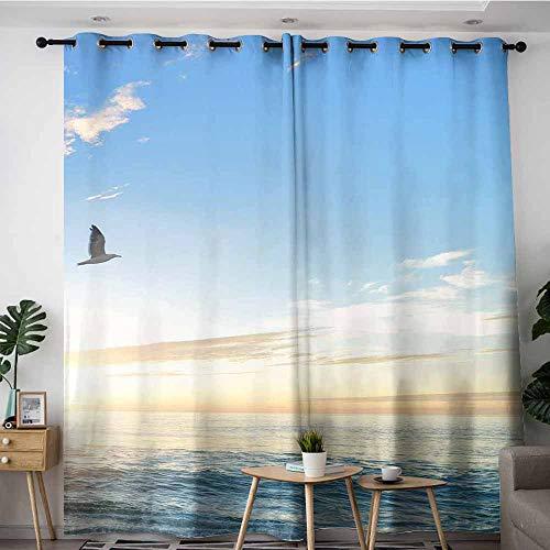 (LOVEEO Simple Curtains,Sunrise. Sunset at sea. Wallpaper,Room Darkening, Noise Reducing,W120x72L)