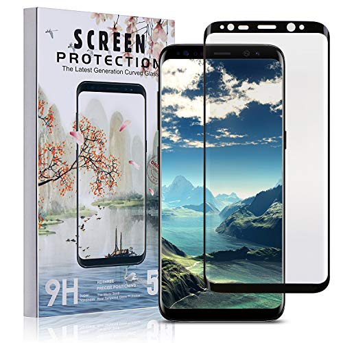 Xawy Samsung Galaxy S8 Screen Protector Glass, 3D Curved Dot Matrix Full Screen Samsung Galaxy S8 Tempered Glass Screen Protector (5.8) 2017 with Easy Application Tray (NOT S8 Plus) (Case Friendly)