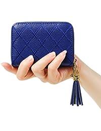 Womens RFID Blocking 15 Slots Card Holder Leather Zipper Accordion Wallet
