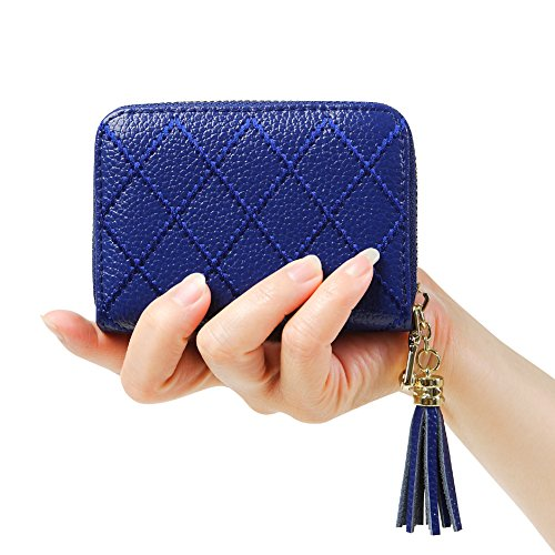Women's RFID Blocking 15 Slots Card Holder Leather Zipper Accordion Wallet,Blue