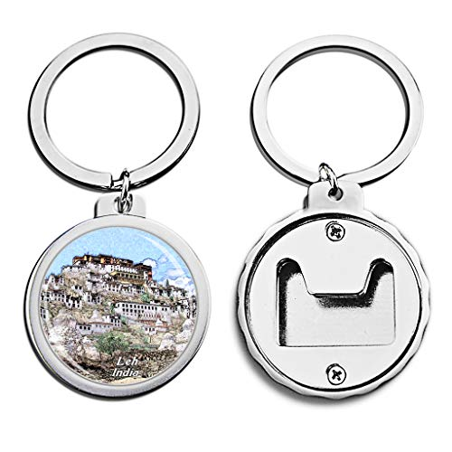 (India Bottle Opener Keychain Thiksey Monastery Leh Mini Bottle Cap Opener Keychain Creative Crayon Drawing Crystal Stainless Steel Key Chain Travel Souvenirs)