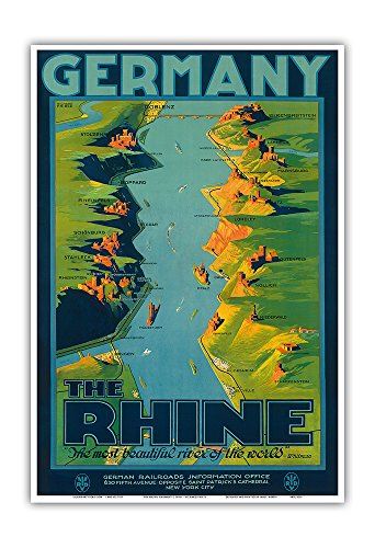 "Germany - The Rhine - ""The Most Beautiful River of the World"" Walt Whitman - Route Map, Painting - Vintage World Travel Poster by Richard Friese c.1930s - Master Art Print - 13in x 19in (River Framed Rhine)"