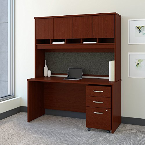 (Bush Business Furniture Series C 60W x 24D Office Desk with Hutch and Mobile File Cabinet in)